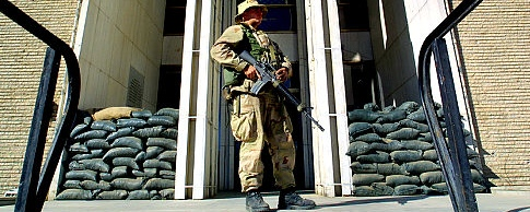 A US Marine stands guard
