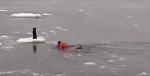 Man Braves Frigid Water to Save Dog
