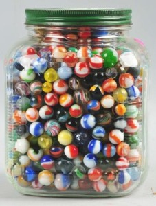 Jar of 1000 Marbles by www.liveauctioneers.com
