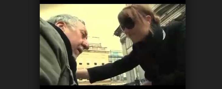Woman and Homeless Man