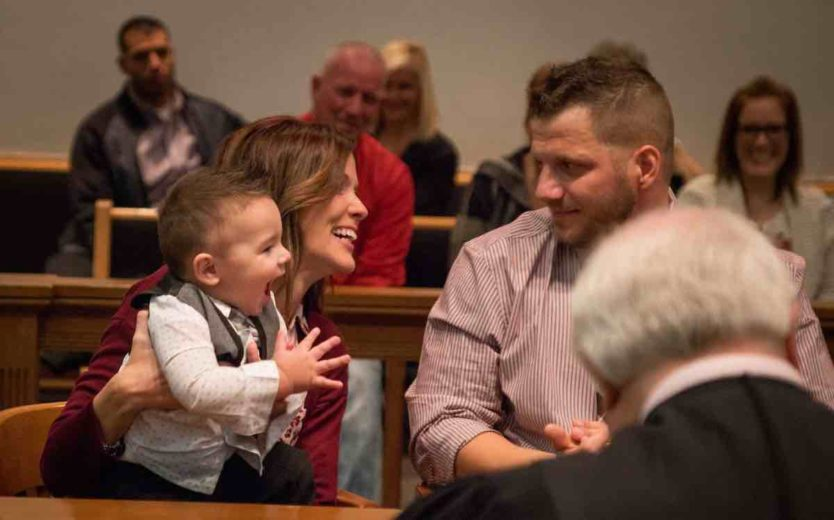 Thrilled Toddler Yells 'Dad!' After Adoption Decree is Announced